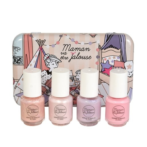 Boite de maquillage contenant 4 minis vernis à ongles à l'eau pour enfant