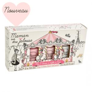 Coffret 3 vernis à ongles à l'eau Carrousel: Rose, Rose Givré et Poudre d'Or