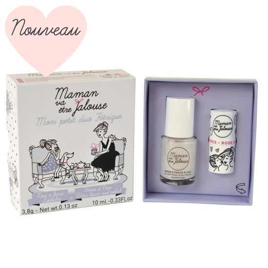 Petit duo féérique - Coffret maquillage enfant: vernis à ongles à l'eau et rose à lèvres