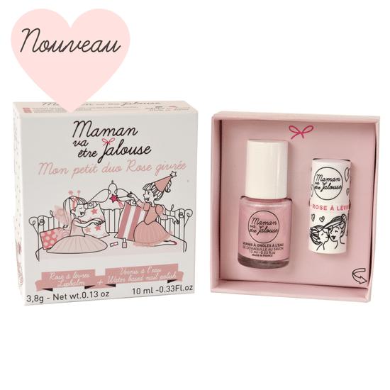 Petit duo ROSE GIVREE - Coffret maquillage enfant, vernis à ongles à l'eau et rose à lèvres
